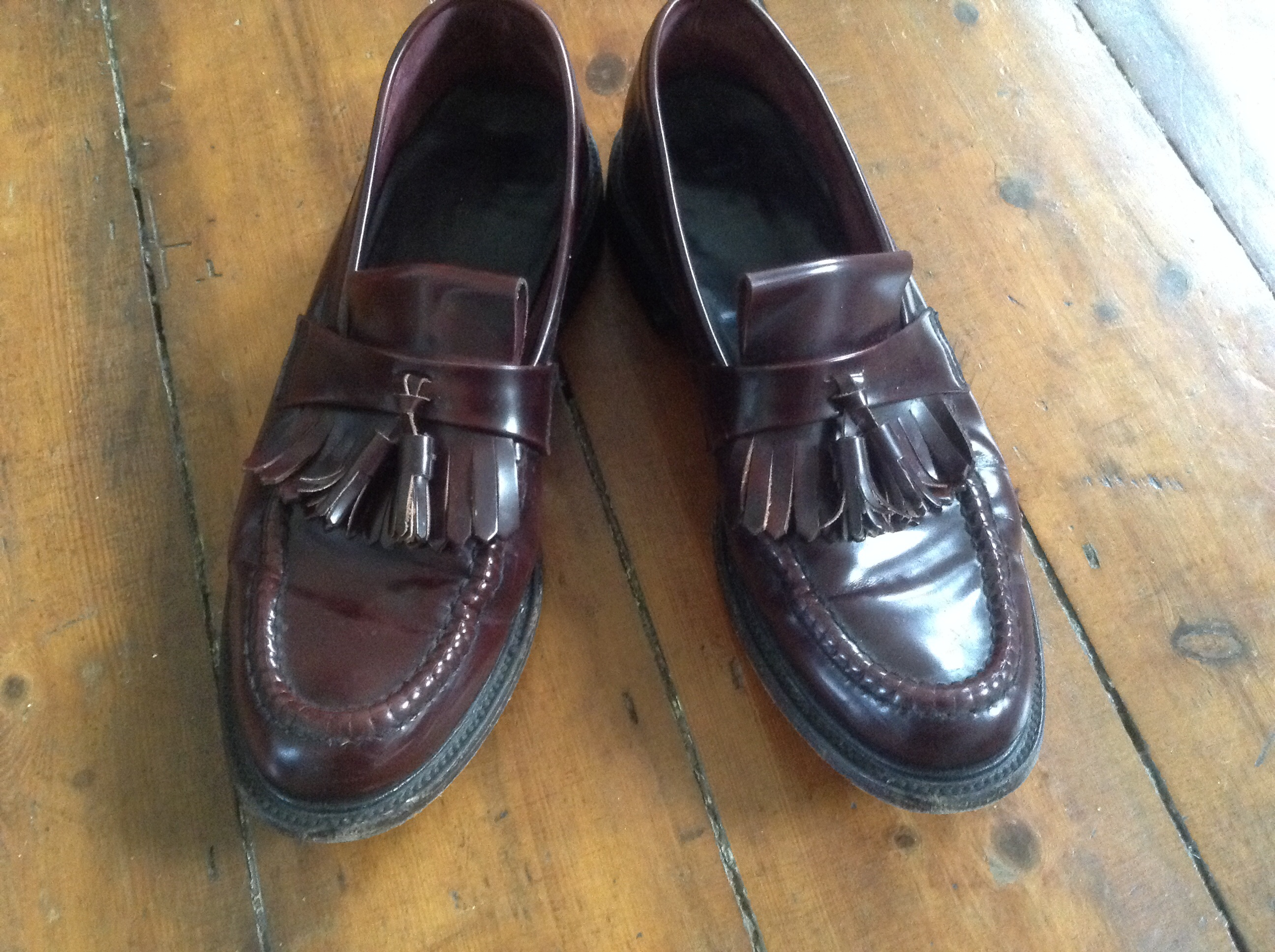 A Pair  of Loakes Oxblood Tassel Loafers