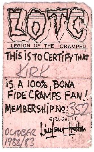 Cramps Fan Club Card